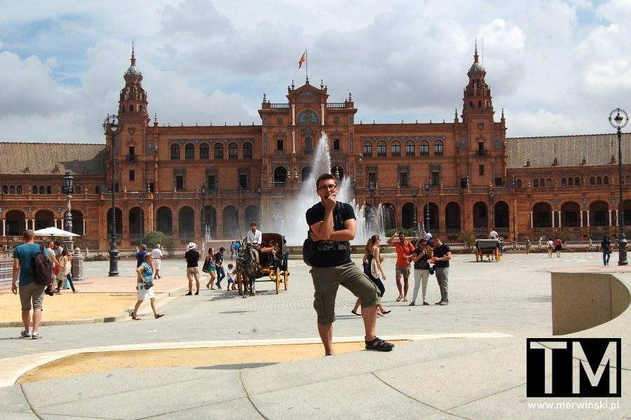 Tomasz Merwiński na Placu Hiszpańskim w Sewilli