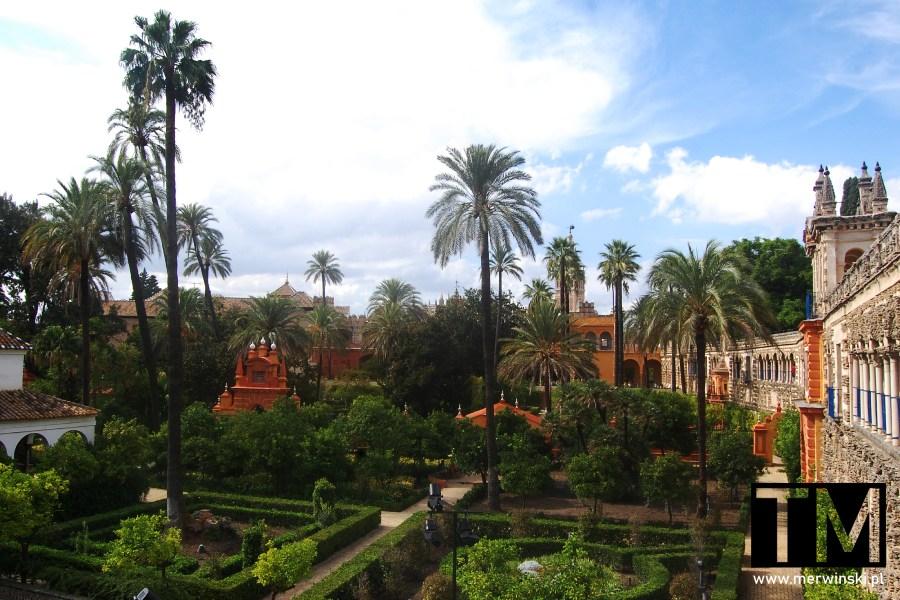 Widok na ogrody królewskie w Sewilli