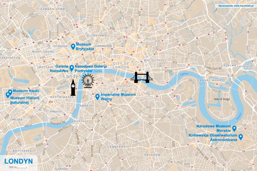 Mapa Londynu - muzea i galerie