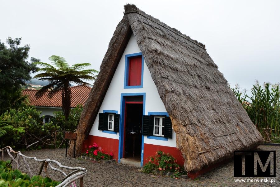 Tradycyjny pokryty strzechą domek w Santanie na Maderze