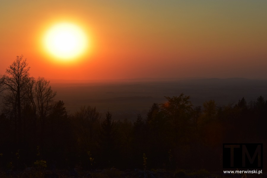 Zachód słońca widziany z góry Raduni
