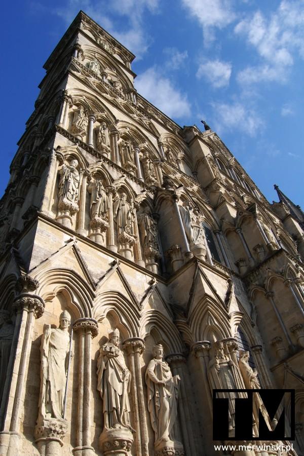 Widok na elewację katedry Salisbury