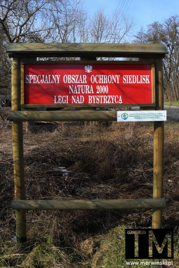 Tablica Natura 2000 Łęgi nad Bystrzycą