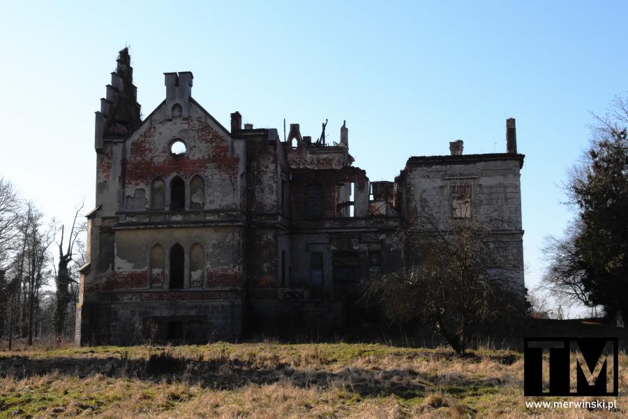 Widok na ruiny pałacu w Gałowie