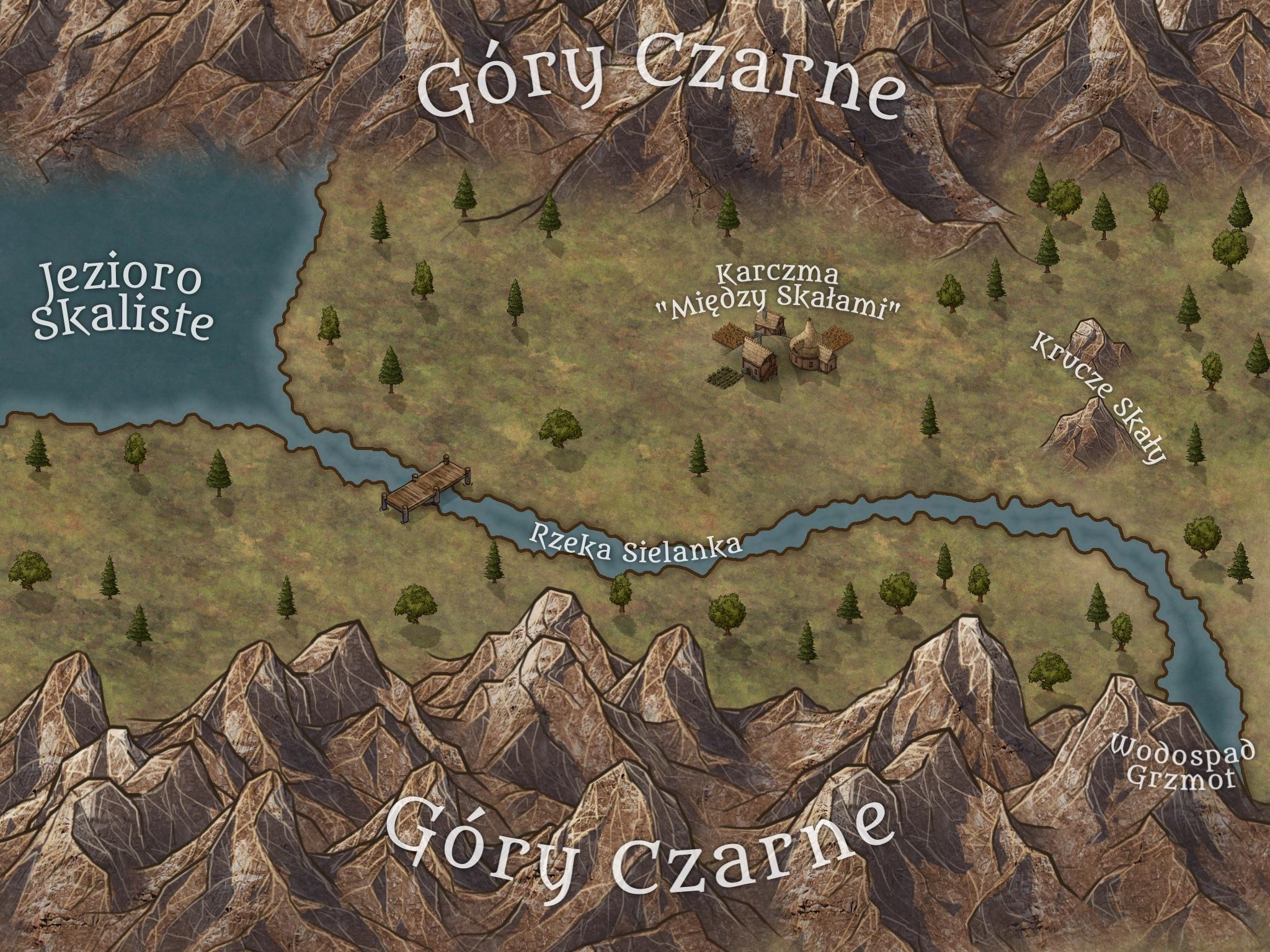 Mapa Przełęczy Mokrej