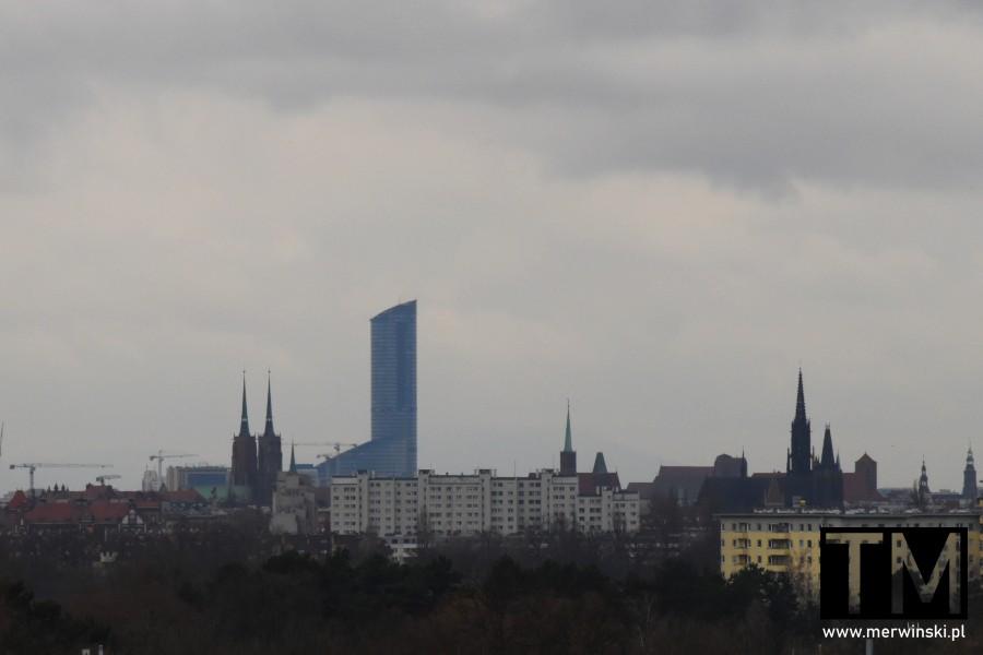 Sky Tower widziany z dachu Młynu Sułkowice