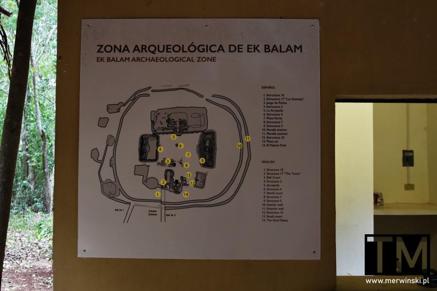 Mapa strefy archeologicznej Ek Balam