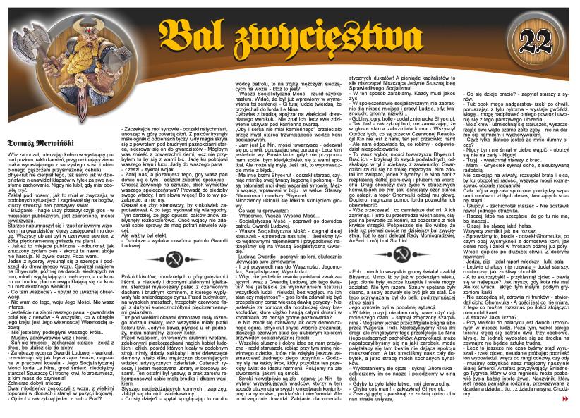 """Opowiadanie fantasy """"Bal zwycięstwa"""" w magazynie Duże Ka"""