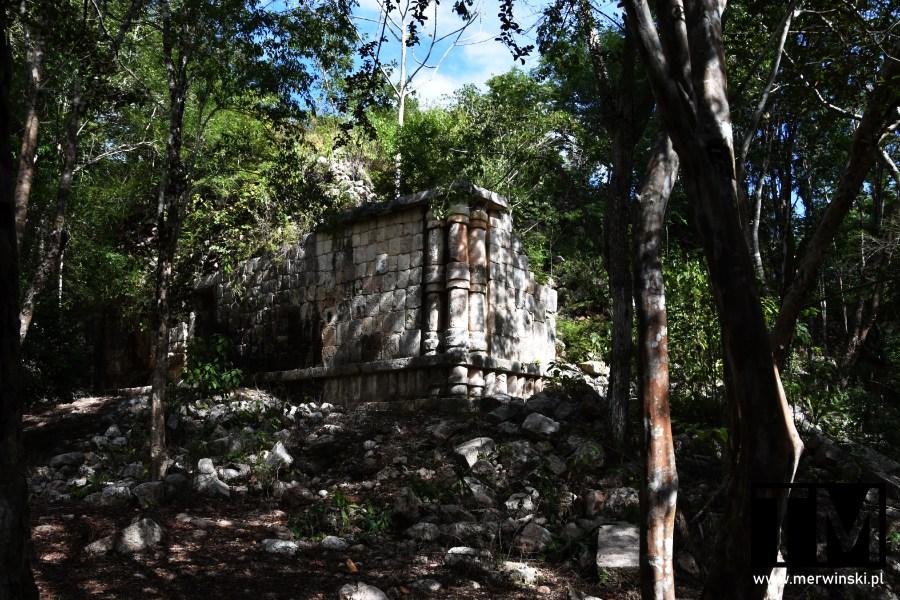 Fragment ruin w meksykańskiej dżungli w Sayil