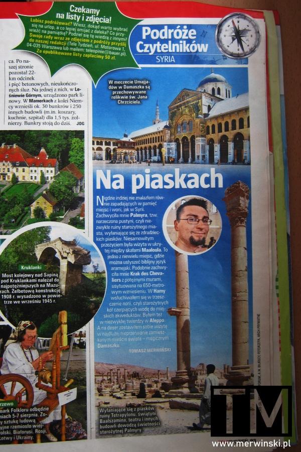 Opis podróży do Syrii Tomasza Merwińskiego w Tele Tygodniu z 2011 roku