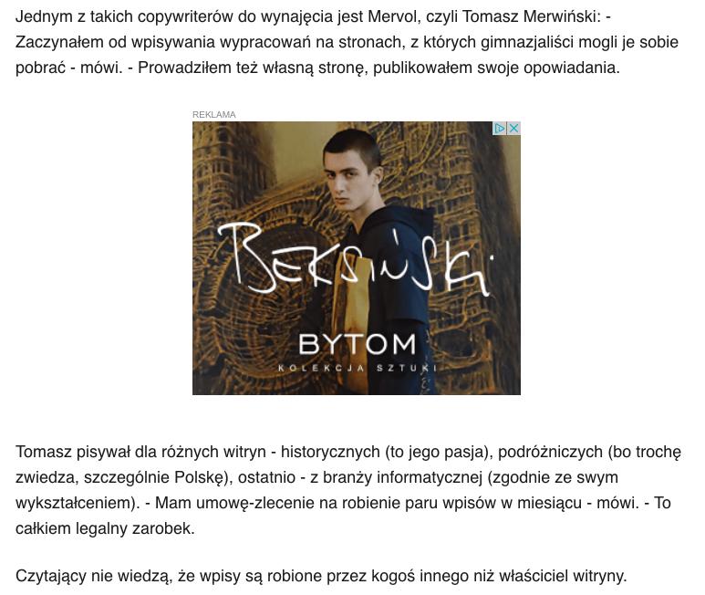 Wypowiedź copywritera Tomasza Merwińskiego