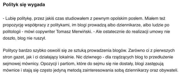 Politolog copywriter Tomasz Merwiński