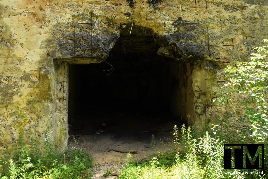 Jelcz-Laskowice - wejście do bunkra w lesie